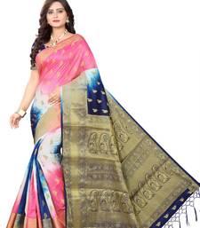 Buy Navy blue woven banarasi cotton saree with blouse women-ethnic-wear online