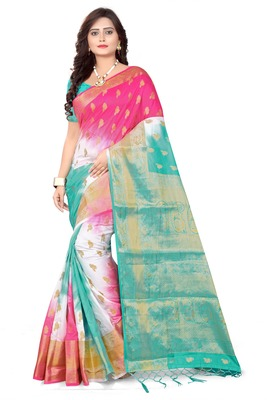 Green Woven Banarasi Cotton Saree With Blouse