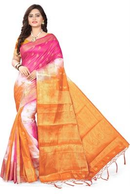 Orange woven banarasi cotton saree with blouse