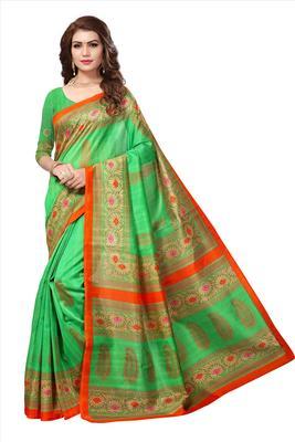 Green printed bhagalpuri silk saree with blouse