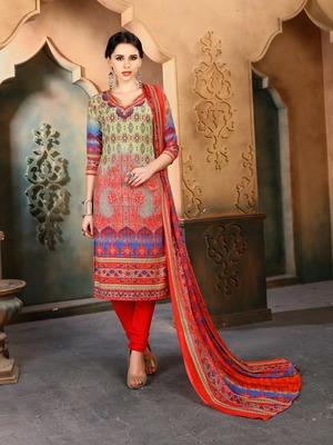 Multicolor geometric print cotton poly salwar