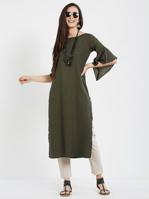 Dark green plain cotton kurti
