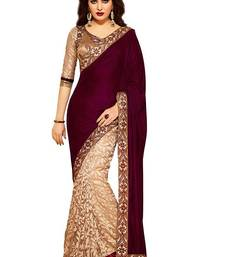Buy Maroon plain velvet saree with blouse women-ethnic-wear online