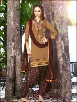 48efaaf5dd brown embroidered chanderi unstitched salwar with dupatta - Zoharin -  2652613