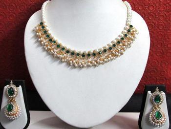 Green Stone Pearl Gota Ghungaru Necklace Set