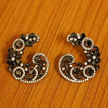 Black Onyx Diamond Look Black Rhodium Studs