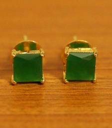 Square Shaped Green Onyx Gold Plated Studs