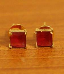 Square Shaped Gold Plated Ruby Studs