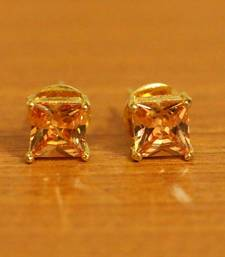 Square Shaped Champagne Colour Studs
