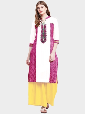 Chhabra 555 White & Pink Colored Cotton Embroidered Straight Kurta