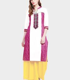 Buy Chhabra 555 White & Pink Colored Cotton Embroidered Straight Kurta women-ethnic-wear online