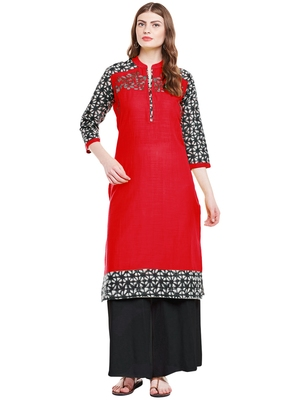 Chhabra 555 Red  Colored Embroidered Cotton Kurta