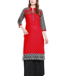 Buy Chhabra 555 Red  Colored Embroidered Cotton Kurta cotton-kurtis online