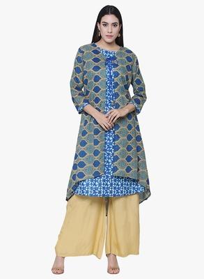 Chhabra 555 Blue & Green Cotton Printed Kurta With Inner