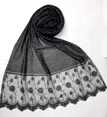 Grey designer strechable lycra women's stole hijab