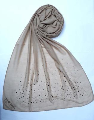 Brown designer diamond cotton women's stole hijab