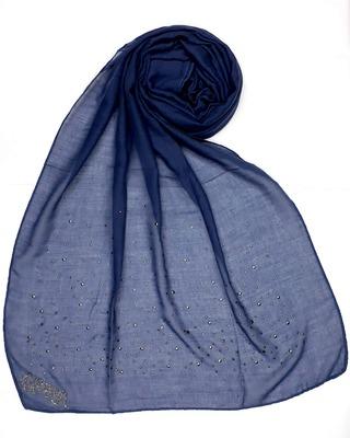 Blue Designer Diamond Cotton Women'S Stole Hijab