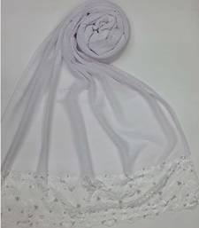 White designer strechable lycra women's stole hijab