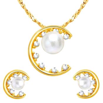 4f3b276ef3e2f Delicate pearl rainbow cz gold plated pendant earring set