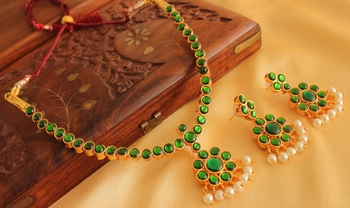 Gorgeous gold plated green temple necklace set - DJ17521