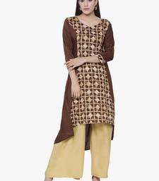Buy Chhabra 555 Brown Rayon Printed High Low Kurta cotton-kurtis online