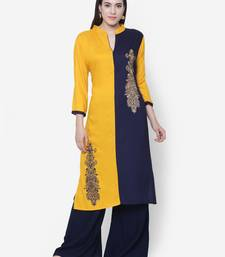 Buy Chhabra 555 Yellow & Navy Blue Rayon Printed Straight Kurta cotton-kurtis online