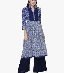 Buy Chhabra 555 Blue Rayon Printed Straight Kurta cotton-kurtis online