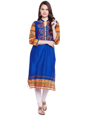 Chhabra 555 Blue & Multi Coloured  Embroidered Cotton Stiched Kurti