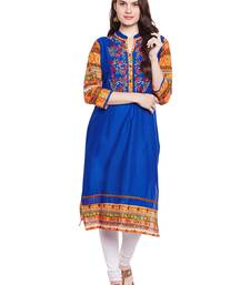 Buy Chhabra 555 Blue & Multi Coloured  Embroidered Cotton Stiched Kurti women-ethnic-wear online