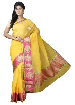 Yellow plain cotton saree with blouse