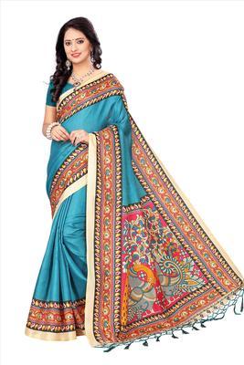 Sky blue printed art silk sarees saree with blouse