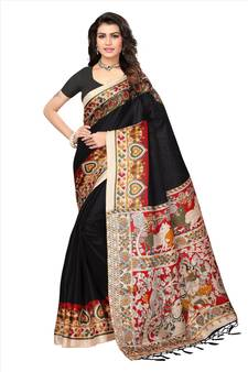 0bc2fd69239 Black printed art silk sarees saree with blouse