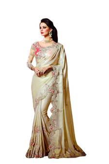 a1dab72807648 Cream embroidered fancy fabric saree with blouse