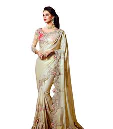 Buy Cream embroidered fancy fabric saree with blouse fancy-saree online