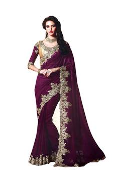 5a41a53991d53 Magenta embroidered fancy fabric saree with blouse