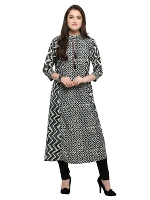 Inddus Black printed cotton poly long-kurtis