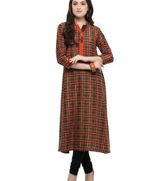 Inddus Orange printed cotton poly long-kurtis