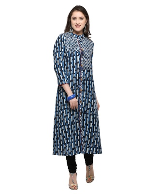 Inddus Blue printed cotton poly long-kurtis