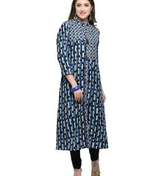 Buy Inddus Blue printed cotton poly long-kurtis long-kurtis online