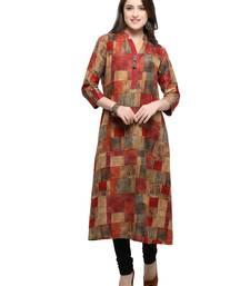 Buy Inddus Beige printed cotton poly long-kurtis women-ethnic-wear online