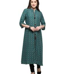Buy Inddus Teal printed cotton poly long-kurtis long-kurtis online