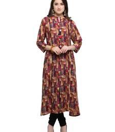 Buy Inddus Multicolor printed cotton poly long-kurtis long-kurtis online