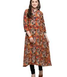 Inddus Multicolor printed cotton poly long-kurtis