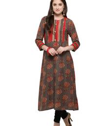Buy Inddus Grey printed cotton poly long-kurtis long-kurtis online