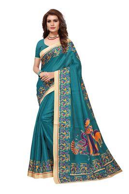 Sea green printed khadi saree with blouse