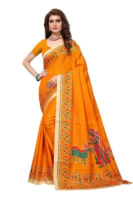 Mustard printed khadi saree with blouse