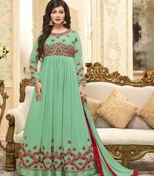 Parrot-green work georgette salwar