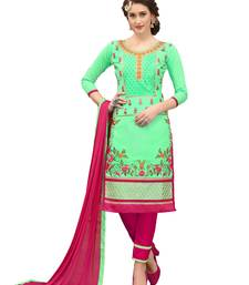 Buy Parrot-green work cotton salwar with dupatta dress-material online