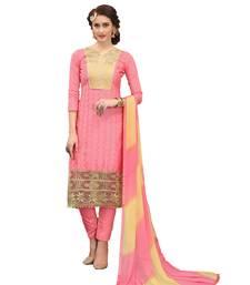 Buy Pink work cotton salwar with dupatta dress-material online