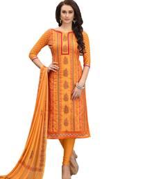 Buy Orange work cotton salwar with dupatta dress-material online